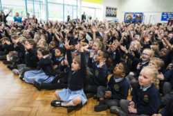 Children meeting their Bee in an assembly