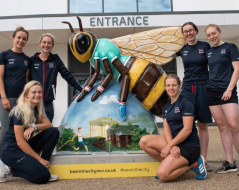 Team GB cyclists with Bee